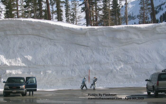 Wall of Snow at the Chair 2 Parking Lot at the Mammoth Mountain Ski Area