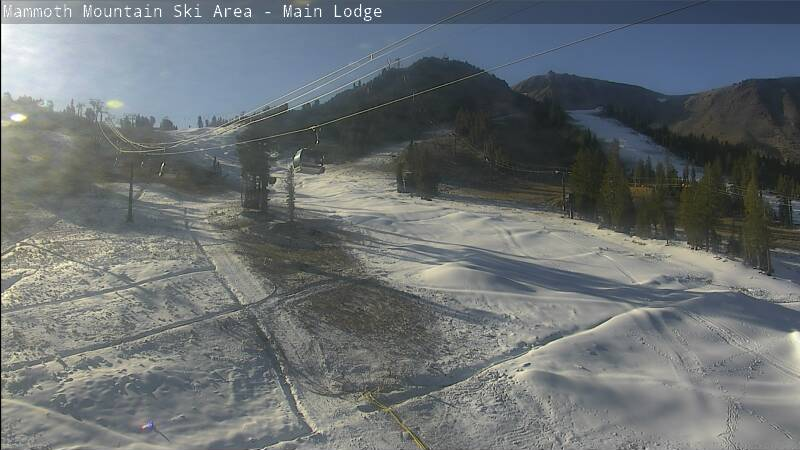 Mammoth Mountain Snowmaking Progress from the Main Lodge Cam