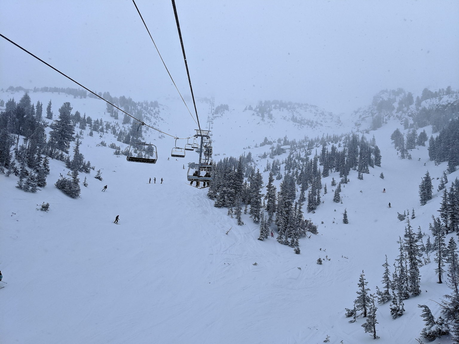 Chair 5 on a Snowy Monday out on Mammoth Mountain.