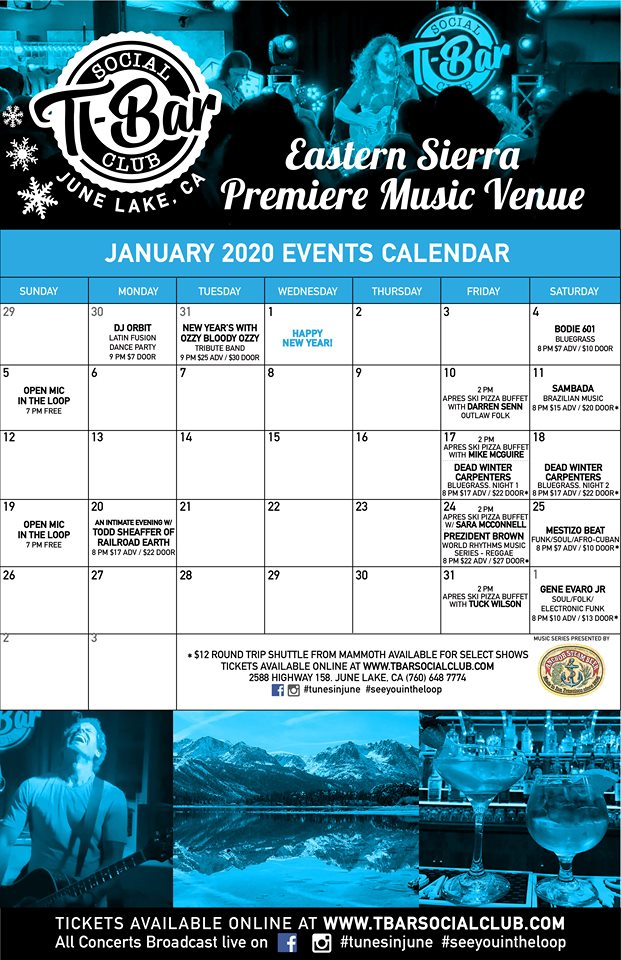 January Calendar of Events for the T-Bar Social Club in June Lake