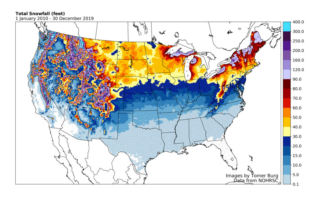 Total Us Snowfall 10 years
