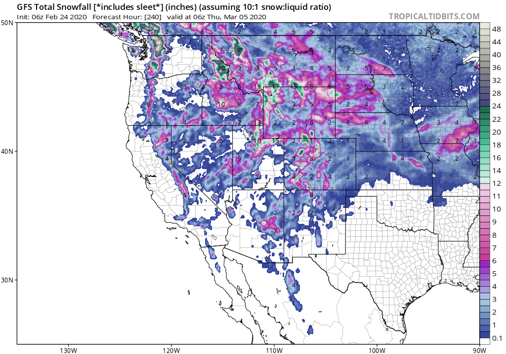 GFS Snowfall outlook for Mammoth Mountain