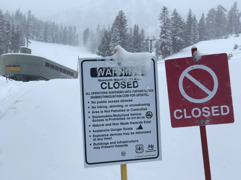 Mammoth Mountain is Closed