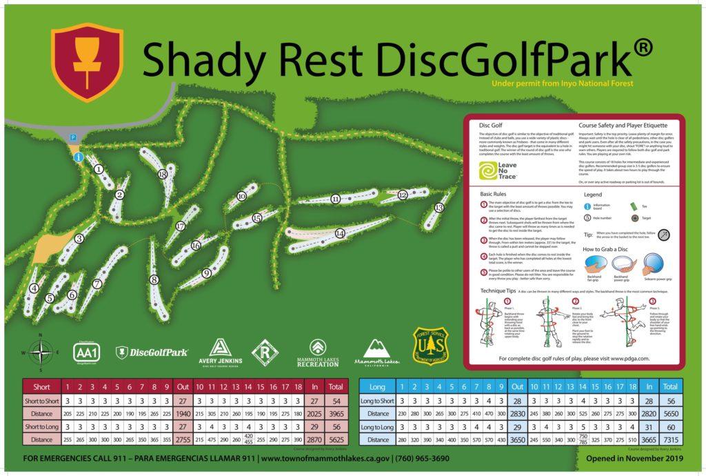 Shady Rest Disk Golf in Mammoth Lakes