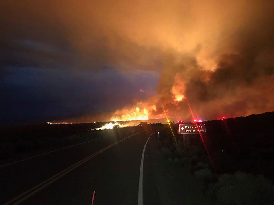 A fire start up at Mono Lake on Sunday PM