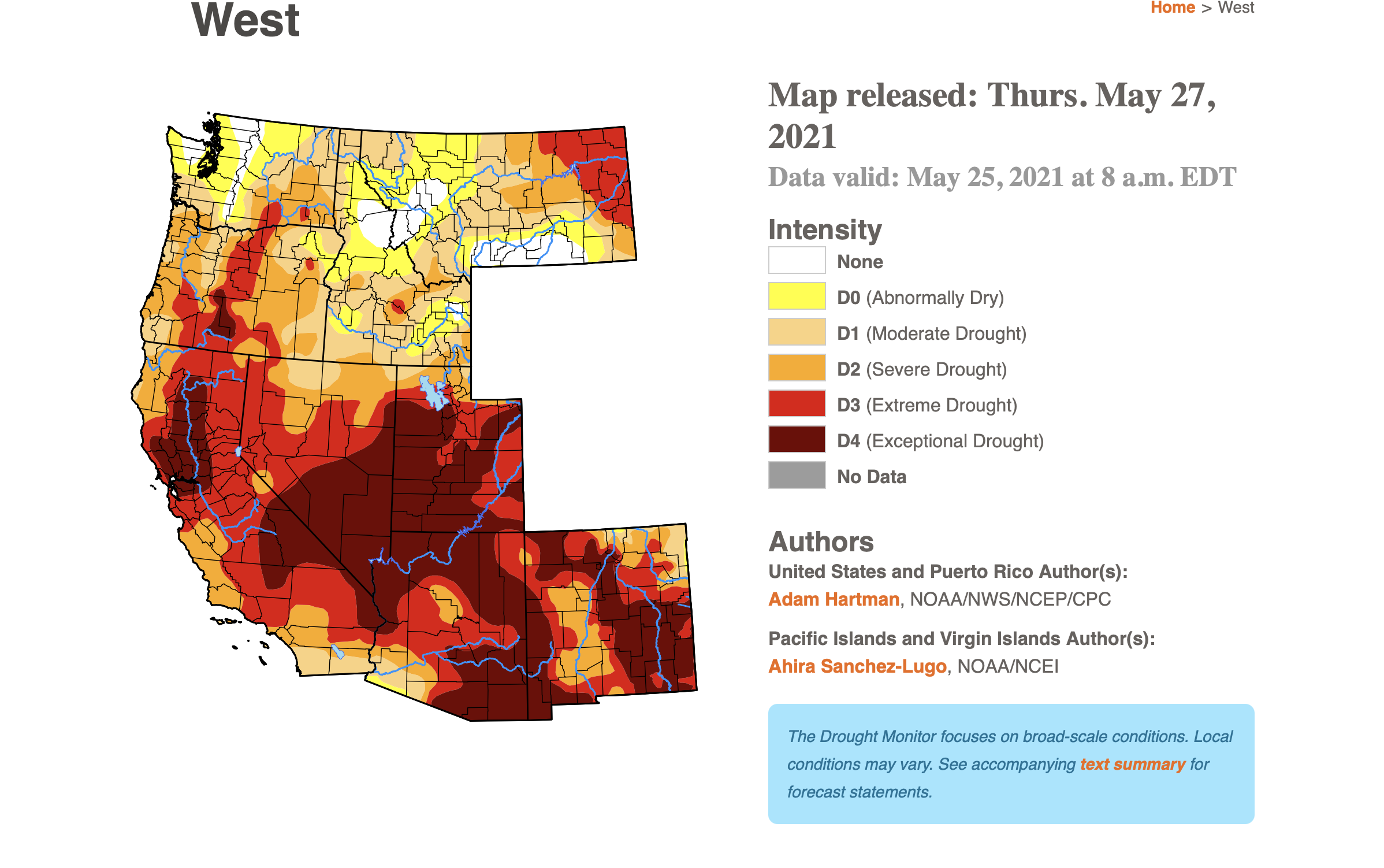 US West Drought Monitor Map