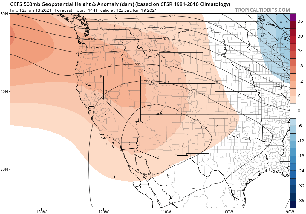 GEFS Ensemble 500 MB Height Anomaly
