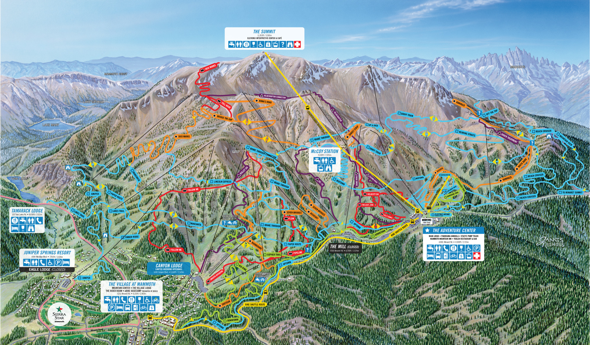 Mammoth Mountain Bike Park Trail Map