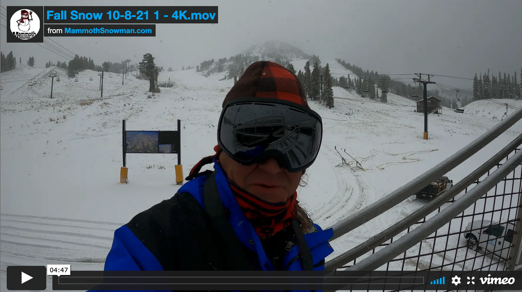 You are currently viewing Mammoth Snowman Video Snow Report & Snow Tour 10-8-2021